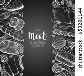 meat and sausages top view.... | Shutterstock .eps vector #653281144