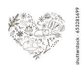 cozy winter hand drawn elements ... | Shutterstock . vector #653281699