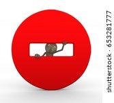 minus sign stop icon 3d wooden... | Shutterstock . vector #653281777