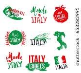 set of italian labels for... | Shutterstock .eps vector #653282995