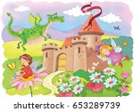 a castle and fairy tale... | Shutterstock . vector #653289739