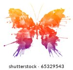 Stock photo watercolor butterfly isolated on white background colorful rainbow illustration of watercolor 65329543