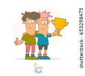 two guys with a gold cup in... | Shutterstock .eps vector #653298475