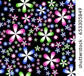 simple floral seamless pattern... | Shutterstock .eps vector #653305849