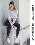 fitness sporty girl wearing... | Shutterstock . vector #653305855