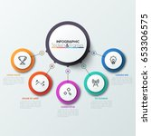 five colorful circles connected ... | Shutterstock .eps vector #653306575