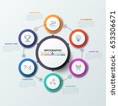 six colorful round elements... | Shutterstock .eps vector #653306671