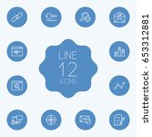 set of 12 search outline icons... | Shutterstock .eps vector #653312881