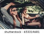 beautiful girls in sun glasses... | Shutterstock . vector #653314681