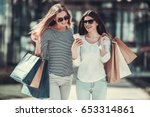 beautiful girls in sun glasses... | Shutterstock . vector #653314861