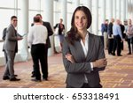 happy smiling employee... | Shutterstock . vector #653318491