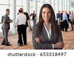 cheerful corporate employee... | Shutterstock . vector #653318497