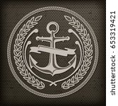 anchor  grey nautical symbol on ... | Shutterstock .eps vector #653319421