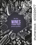 wines and gourmet snacks frame... | Shutterstock .eps vector #653320477