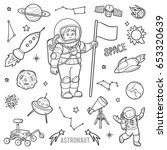 vector set with astronaut and... | Shutterstock .eps vector #653320639