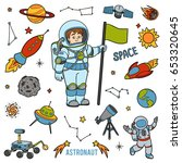 vector set with astronaut and... | Shutterstock .eps vector #653320645