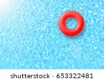 red swimming pool ring float in ... | Shutterstock . vector #653322481