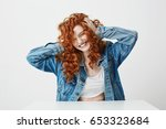 cheerful beautiful girl... | Shutterstock . vector #653323684