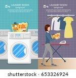 laundry room interior vector... | Shutterstock .eps vector #653326924