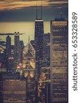 chicago downtown illuminated...   Shutterstock . vector #653328589