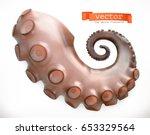 octopus tentacle. 3d vector... | Shutterstock .eps vector #653329564