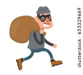 happy smiling thief  robber... | Shutterstock .eps vector #653329669