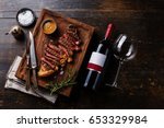 grilled sliced steak striploin... | Shutterstock . vector #653329984
