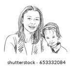 portrait of happy mother and... | Shutterstock .eps vector #653332084