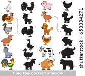 colorful farm animals set with... | Shutterstock .eps vector #653334271