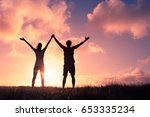 people winning concept. man and ... | Shutterstock . vector #653335234