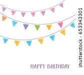 vintage vector happy birthday... | Shutterstock .eps vector #653343301