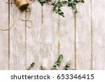 workplace with laurel ornament... | Shutterstock . vector #653346415