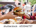 delicious fresh burger on food... | Shutterstock . vector #653346757