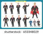 set of businessman presenting... | Shutterstock .eps vector #653348029