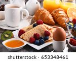 breakfast served with coffee ... | Shutterstock . vector #653348461