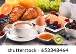breakfast served with coffee ... | Shutterstock . vector #653348464