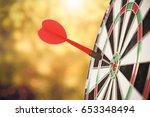 target red arrow center of... | Shutterstock . vector #653348494