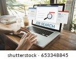 business hand using computer... | Shutterstock . vector #653348845