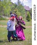 Small photo of Loveland, Colorado - June 3, 2017: Colorado Medieval Festival participants - sward fighters