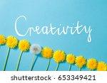 row of dandelions. creativity...   Shutterstock . vector #653349421