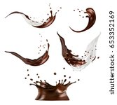 milk and chocolate splashes... | Shutterstock .eps vector #653352169