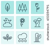 nature icons set. collection of ... | Shutterstock .eps vector #653354791