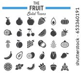 fruit solid icon set  food... | Shutterstock .eps vector #653360191
