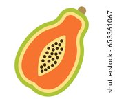 papaya flat icon  fruit and... | Shutterstock .eps vector #653361067