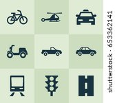 transportation icons set.... | Shutterstock .eps vector #653362141