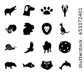 wildlife icons set. set of 16... | Shutterstock .eps vector #653372401