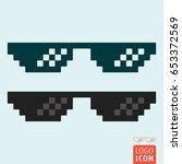 pixel glasses icon. thug life... | Shutterstock .eps vector #653372569