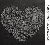 chalkboard vector hand drawn... | Shutterstock .eps vector #653378059