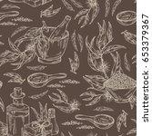 seamless with eucalyptus ... | Shutterstock .eps vector #653379367