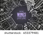 wines and gourmet snacks frame... | Shutterstock .eps vector #653379481
